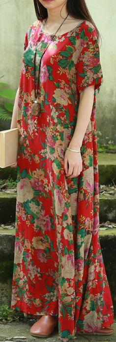 US$ 21.58 Vintage Women Floral Printed Short Sleeve Long Maxi Dresses