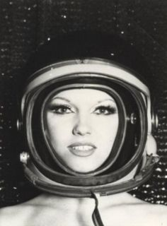 Model with space helmet - outer space vintage print ad, MCM