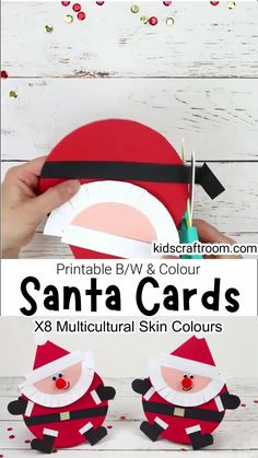 Round Santa Christmas Cards are so fun and easy to make with the printable Santa template. This printable Christmas craft comes in B/W to colour in or trace around and full colour. The colour version has 8 multicultural skin colours to choose from. Such a fun Christmas card craft for kids. #kidscraftroom #kidscrafts #christmascrafts #santa #santacrafts #christmascards Santa Crafts, Christmas Card Crafts, Preschool Christmas, Kids Christmas, Holiday Crafts, Christmas Printables, Halloween Crafts For Toddlers, Halloween Projects, Toddler Crafts