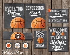 Hydration Station Sign, Beverage Signs, Basketball Theme Party, Sport Decorations, Dunk it, Autograph Sign, Digital, Printable