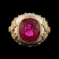 Two Tone 18 Karat White and Yellow Gold Dome Ring with One Cushion Cut Pink Tourmaline Set with 32 Brilliant Cut Diamonds