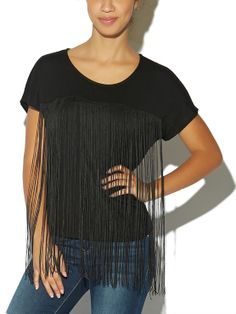 """Uniquely embellished, this pretty, short-sleeve tee features a deep scoop neckline with long fringe hanging from the bodice, creating a gorgeous flair. The tee fits loosely and comfortably with its soft and stretchy knit.   Model is 5'9"""" and wears a size small.  Rayon   Spandex USA Hand Wash"""