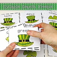 Searching for Shamrocks Syllable Sort FREEBIE by Laura Martin - Searching for Shamrocks engages children as they search the classroom for colorful shamrocks containing 20 St. Patrick's Day vocabulary words.
