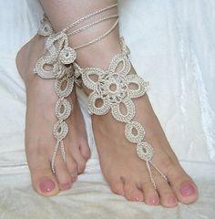 Light beige crochet barefoot sandals. by agatsknitting on Etsy, $10.00