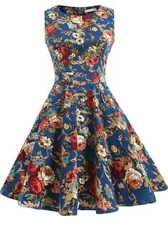 OTEN Women's Cocktail Party Sleeveless Floral 1950s Vintage Tea Dress, 3X, Blue+Floral