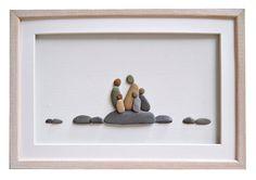Family of five pebble art Family portrait Gift by PebbleArtDream