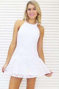 Halter Eyelet Lace Dress