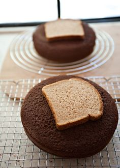 Brilliant? Cake Cooling Tip: When cooling cake layers, place bread slices on top to keep the cake layers soft and moist while the bread becomes hard as a rock -- What a fun fact!!! It keeps it from cracking in the middle too!