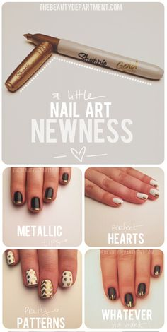 nail art with metallic sharpies  #nails #beauty #sharpies
