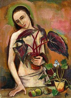 Karl Hofer - Mädchen mit Begonie (1922)