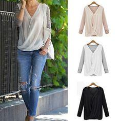 NEW Womens Office Lady Tops V Neck Chiffon Shirt Blouse Casual Long Sleeve | eBay
