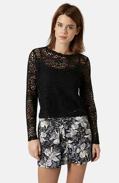 """Topshop Long Sleeve Crochet -Top 19"""" length (size 8). Base layer recommended. 100% polyamide. Machine wash cold, dry flat. By Topshop; imported. EUR 32, US 0, UK 4. Fits like a US 00. EUR 34, US 2, UK 6. Fits like a US 0. EUR 36, US 4, UK 8. Fits like a US 0-2. EUR 38, US 6, UK 10. Fits like a US 2-4. EUR 40, US 8, UK 12. Fits like a US 6-8. EUR 42, US 10, UK 14. Fits like a US 10-12. EUR 44, US 12, UK 16. Fits like a US 14."""