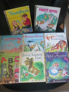 Lot of Little Golden  Books Donald Duck Forest Hotel Road Runner Numbers ABC Tawny Scrawny Lion Alice in Wonderland Hop Little Kangaroo by HolySerendipity on Etsy