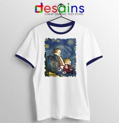 Calvin Hobbes Stary Night Ringer Tee Comic Strip T-shirts Avocado Cartoon, Jeep Clothing, Avatar Cartoon, Donald Glover, Vampire Weekend, 17 Black, One Piece Manga, Ringer Tee, Calvin And Hobbes