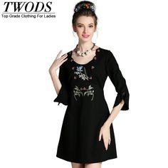L- 5XL Elegant Embroidery Mini Dress 3/4 Sleeve Slim Cut Autumn Short Vestidos Black Blue What a beautiful image http://www.artifashion.net/product/l-5xl-elegant-embroidery-mini-dress-34-sleeve-slim-cut-autumn-short-vestidos-black-blue/ #shop #beauty #Woman's fashion #Products