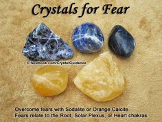 Crystals for Fears — Overcome fear with Sodalite or Orange Calcite. Carry your preferred crystal with you as needed. — Root fears = security or change. Heart fears = emotional or relationship. Also take note of where i Crystal Healing Stones, Crystal Magic, Crystal Grid, Crystal Ball, Crystals And Gemstones, Stones And Crystals, Gem Stones, Wicca Crystals, Les Chakras