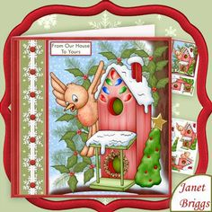 FROM OUR HOUSE TO YOURS Christmas 7 5 Decoupage Mini Kit on Craftsuprint designed by Janet Briggs - 2 sheet Christmas mini kit with 3d step by step decoupage. Topper is approximately 7.5 inch or can be reduced in size for smaller cards.Features cute robin, and his house, decorated for Christmas.Kit includes,1. Topper, decoupage