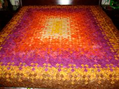 Blooming Nine 9 Patch Handmade Quilt King Topper Queen Spread Organic Cotton Rainbow Batik Fabric on Etsy, $700.00