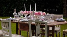 Pink peonies outdoor dining tablescape - WOW!  The ROSE GARDEN in Malevik blog