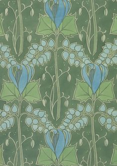 Textile or wallpaper design. Lindsay P. Butterfield. Watercolor and pencil. UK, 1903 (V: E.749-1974). From V Pattern Series II: Garden Florals published by V Publishing and Abrams Books.