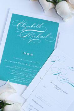 Digital or Printed Pearl Wedding Invitation, Modern, Aqua, Turquoise, Premium Cardboard, New by Paradise Invitations by ParadiseInvitations on Etsy