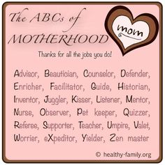 A cute message for mom on Mothers Day for all that she does for you.