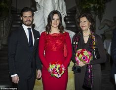 Family matters: Princess Sofia, Prince Carl Philip, and his mother Queen Silvia were all in attendance at the event