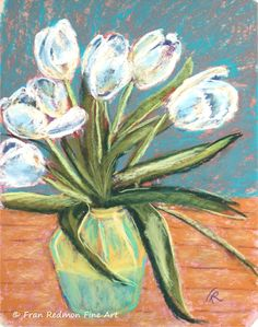 "Fran Redmon Pastel Paintings, Kentucky Artist   ""White Tulips"" 9""x12"""