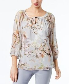 Calvin Klein Embellished Keyhole Top - Gray S Cute Summer Outfits, Simple Outfits, Cool Outfits, Fashion Outfits, Womens Fashion, Kurta Designs, Blouse Designs, Blouse Models, Designs For Dresses