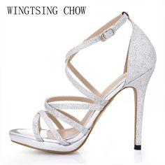 a198628c368c Aliexpress.com   Buy 2016 New Gold Glitter Sexy Wedding Party Women Shoes  Stiletto Heel