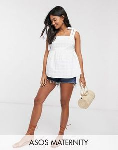 Buy ASOS DESIGN Maternity square neck sun top with tie straps in textured grid in white at ASOS. With free delivery and return options (Ts&Cs apply), online shopping has never been so easy. Get the latest trends with ASOS now. Bardot Crop Top, Satin Cami Top, Asos Maternity, Lace Peplum, Boyfriend Shirt, V Neck Blouse, Cami Tops, Summer Tops, Seersucker
