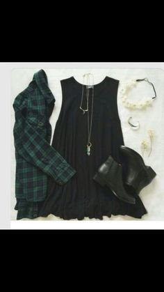 dress hipster grunge indie tumblr outfit shoes flannel shirt jewels flowers shirt