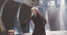Luhan doing a cutie dumb wolf dance and there's Sehun just being too excited down there….(gif)