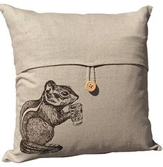 """Chipmunk Throw Pillow Cover Hand Screen Printed Beige Tweed Linen Blend Whimsical Woodland Animal Home Decor. (Pillow insert NOT included) This beautiful linen blend throw pillow cover features a single wooden button and a unique silk screened design of a dark brown chipmunk drinking coffee. It fits an 18"""" x 18"""" pillow insert (NOT included). This pillow cover is perfect for any room: toss it on the sofa, bed, kitchen chair, or nursery rocking chair to add a bit of hand-made style to any..."""