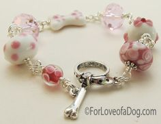 Pink Paw Print Dog Bone Bracelet Lampwork Jewelry at For Love of a Dog