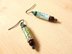 Recycled Map Paper Earrings - I want ALL THE MAP JEWELLERY