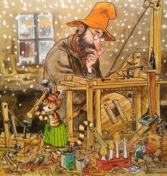 Pettersson und Findus Morgen Findus, wird's was geben 1995 Children's Book Illustration, Character Illustration, Nordic Art, Here Kitty Kitty, Typography Prints, Simple Art, Christmas Art, Crazy Cats, Cartoon Art