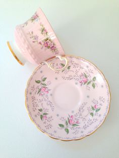 Vintage English Bone China Tuscan Fine Bone China and Elizabethan Fine Bone China Teacup and Saucer Shabby Chic Tea Party Cottage Style