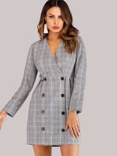 To find out about the Double Breasted Glen Plaid Dress at SHEIN, part of our latest Dresses ready to shop online today! Plaid Dress, Dress P, Sheath Dress, Tuxedo Dress, Glen Plaid, Plaid Fabric, Grey Fashion, Dress To Impress, Double Breasted