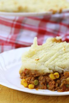 Lentil Casserole - lentils and veggies are topped with mashed potato, making a hearty vegan casserole.