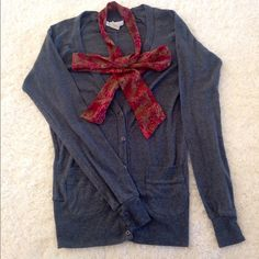 Grey Cardigan with Beautiful Scarf In excelling condition!  Size Medium  Cute and comfy grey cardigan with two front pockets. It also has a beautiful and bright maroon and gold scarf attached! Charlotte Russe Sweaters Cardigans