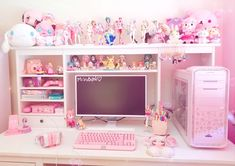 gamer room My desk update dont steal! Cute Room Decor, My Room, Girl Room, Pink Games, Kawaii Bedroom, Gaming Room Setup, Pc Setup, Cute Desk, Home Decor Ideas