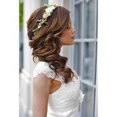 200 Bridal Wedding Hairstyles for Long Hair That Will Inspire ❤ liked on Polyvore featuring accessories, hair accessories, bridal hair accessories, long hair accessories and bride hair accessories