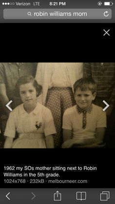 Robin Williams as a child in class photo.