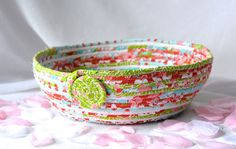 I handmade this Spring Turquoise Kitchen Basket ....Handmade by me... Lovely Spring Fabric Bowl by WexfordTreasures