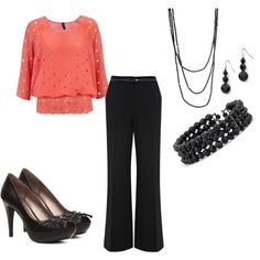 Coral and Black, created by thriftyfam on Polyvore