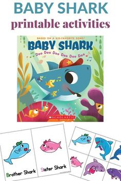 Do Your Little Ones LOVE Baby Shark? Baby Shark printable activity to use with the song or book. Free printable activities that will build literacy skills with toddlers and young preschoolers. Preschool Family Theme, Preschool Books, Free Preschool, Preschool Printables, Toddler Preschool, Preschool Crafts, Shark Activities, Activities For Kids, Indoor Activities