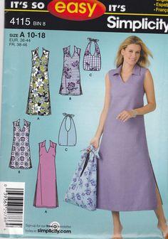 Simplicity Pattern No. 4115 Misses Dress/ Bag 2 Lengths Size 10 -18 Uncut #Simplicity #DressBag http://www.ebay.com/itm/271597465994?ssPageName=STRK:MESELX:IT&_trksid=p3984.m1555.l2649