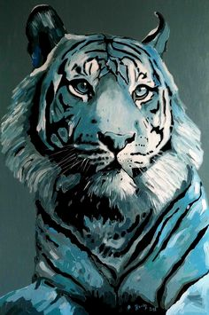Monochrome Painting, Tiger Painting, Tiger Art, Teal, Purple, Paintings, Animals, Water Colors, Art