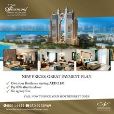 New prices, great payment plan! Now you can own your Residence in Fairmont Marina Residences starting AED 2.1M >> Pay 80% after handover >> No agency fees Call now to book your spot before it goes! 80014444 or 0509138969